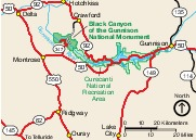 Area Map Black Canyon of the Gunnison National Park, Colorado, United States
