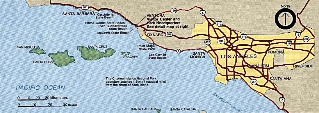 Mapa de la Región del Parque Nacional Channel Islands, California, Estados Unidos