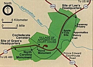 Mapa de la Región del Parque Nacional Histórico Appomattox Court House, Virginia, Estados Unidos