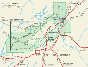 Hot Springs National Park Area Map, Arkansas, United States