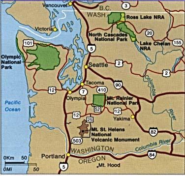 Mapa de la Región del Parque Nacional Monte Rainier, Washington, Estados Unidos