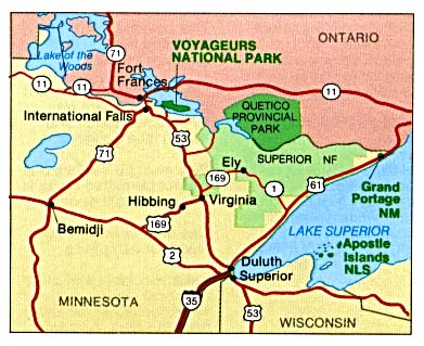 Voyageurs National Park Area Map, Minnesota, United States