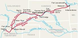 Mapa de la Región del Sitio Histórico Nacional Fort Larned, Kansas, Estados Unidos