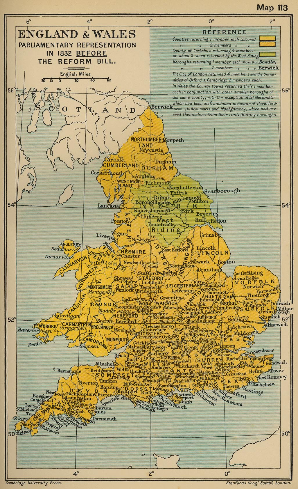 Map of England and Wales Parliamentary Representation in 1832 Before the Reform Bill