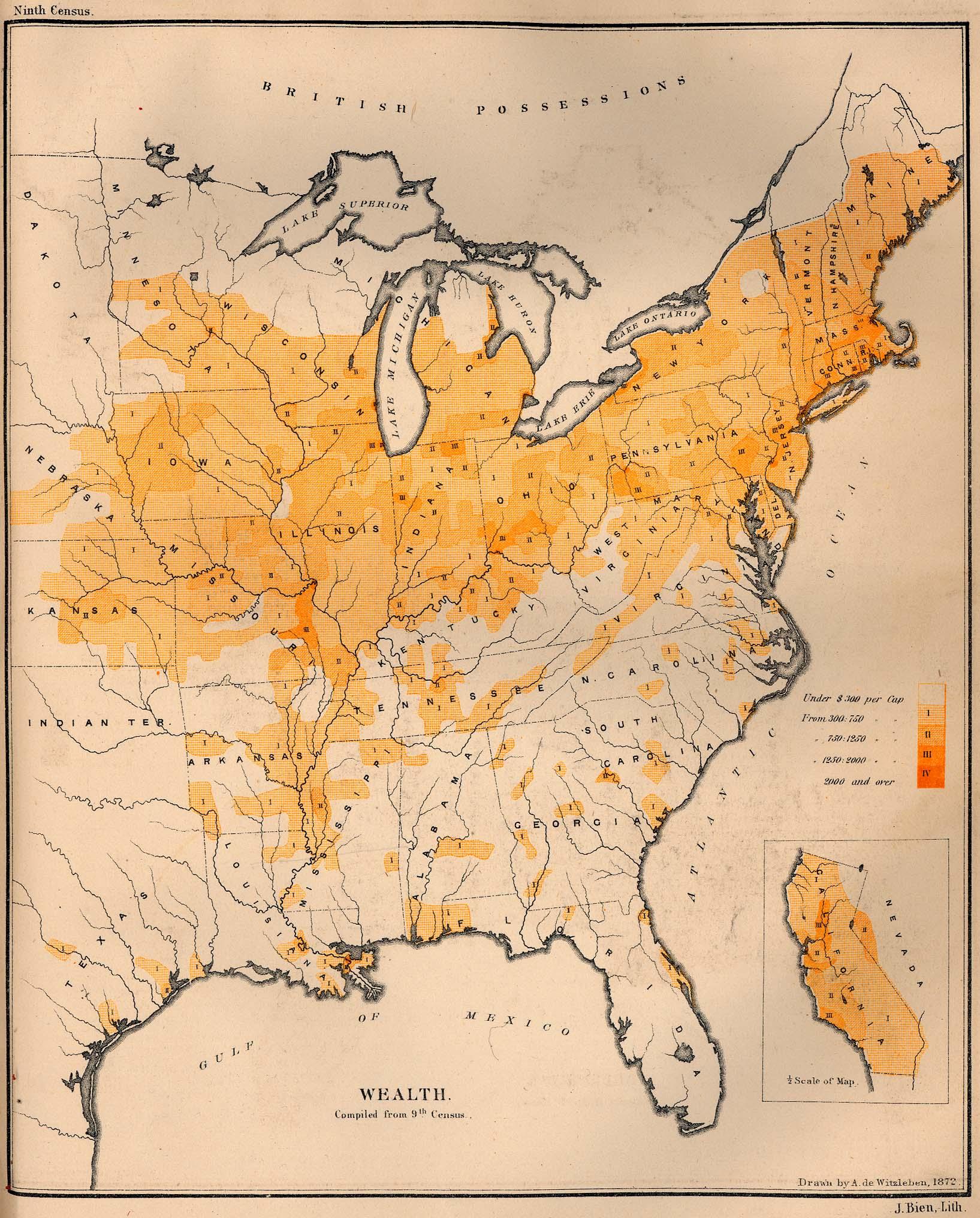 Mapa de la Riqueza en los Estados Unidos 1872