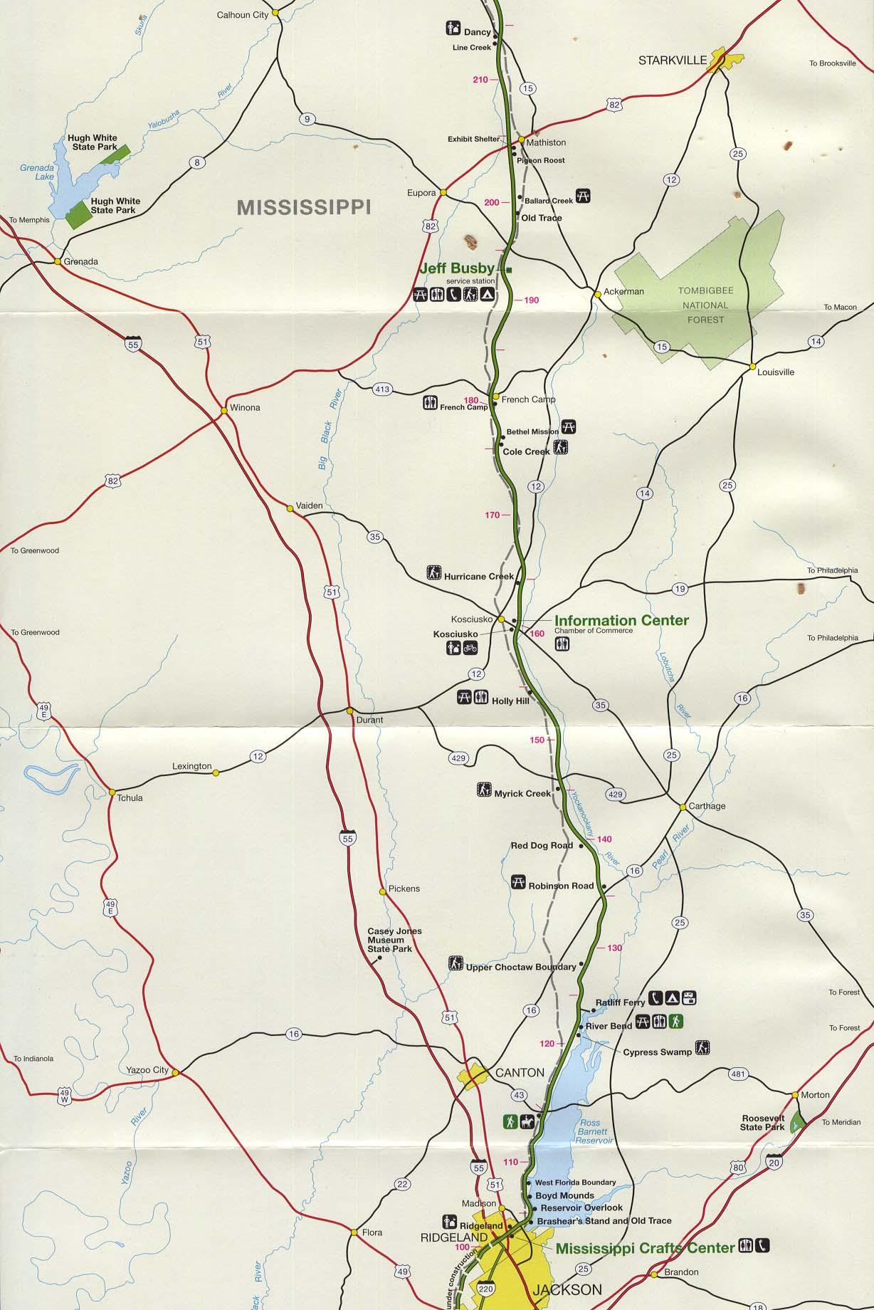 Mapa de la Ruta Escénica Nacional Natchez Trace Parkway Mapa, Misisipi, Alabama, y Tennessee, Estados Unidos