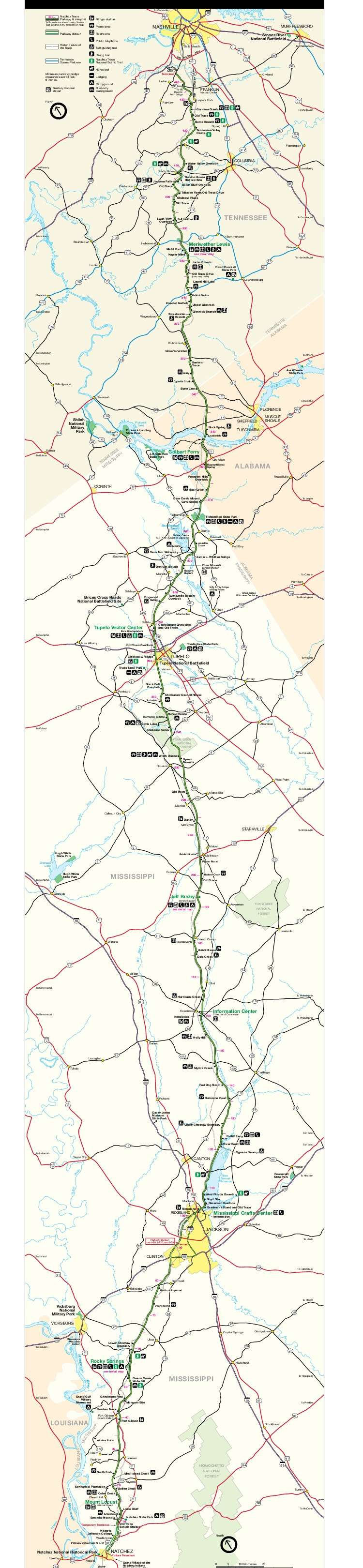 Maps of Natchez Trace Parkway National Scenic Trail Map, Mississippi ...