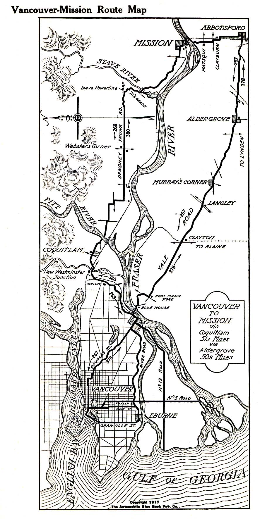 Vancouver-Mission Route Map, British Columbia, Canada