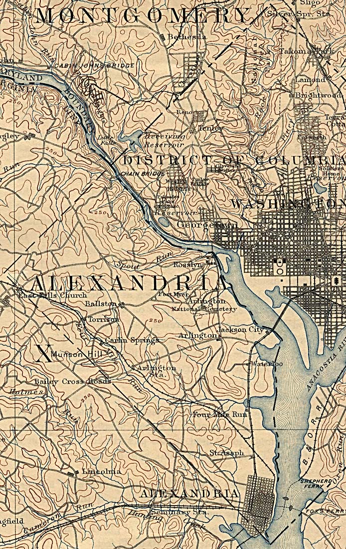 Mapa de la Sección Occidental de Washington D.Circa con Alexandria, Virginia 1894