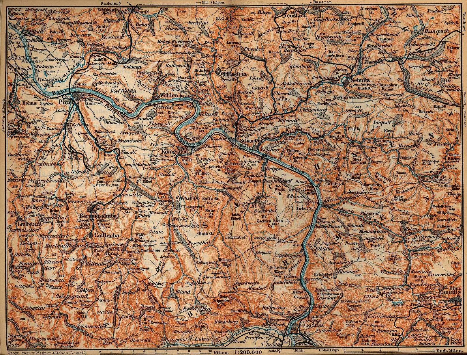 Saxon Switzerland Survey Map, Germany 1910