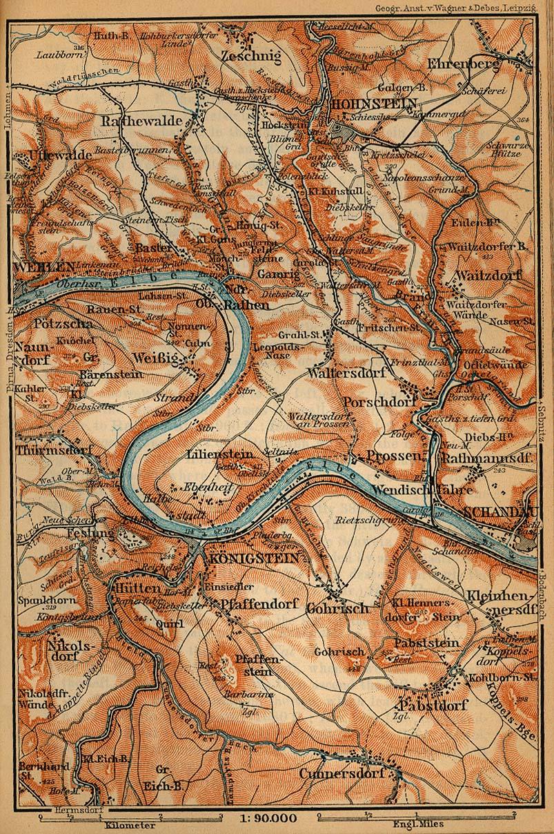 Mapa de la Suiza Sajona Desde Wehlen Hacia Schyau, Alemania 1910
