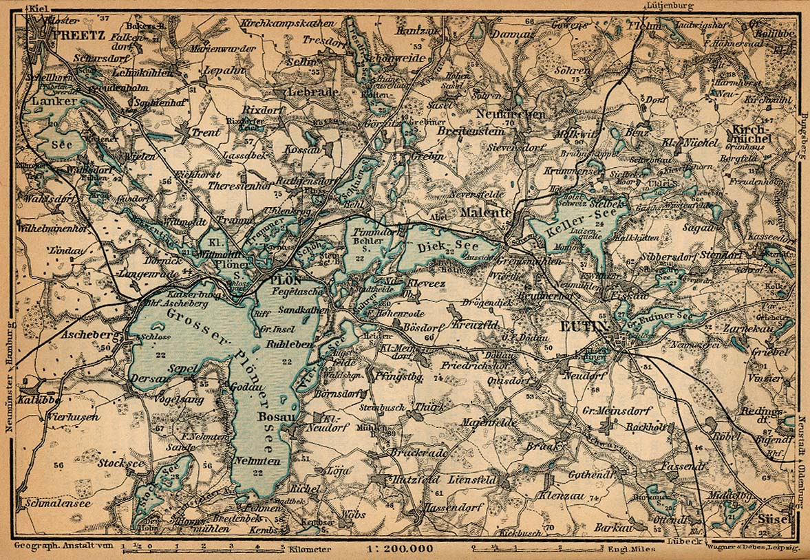 Mapa de la Suiza de Holstein, Alemania 1910