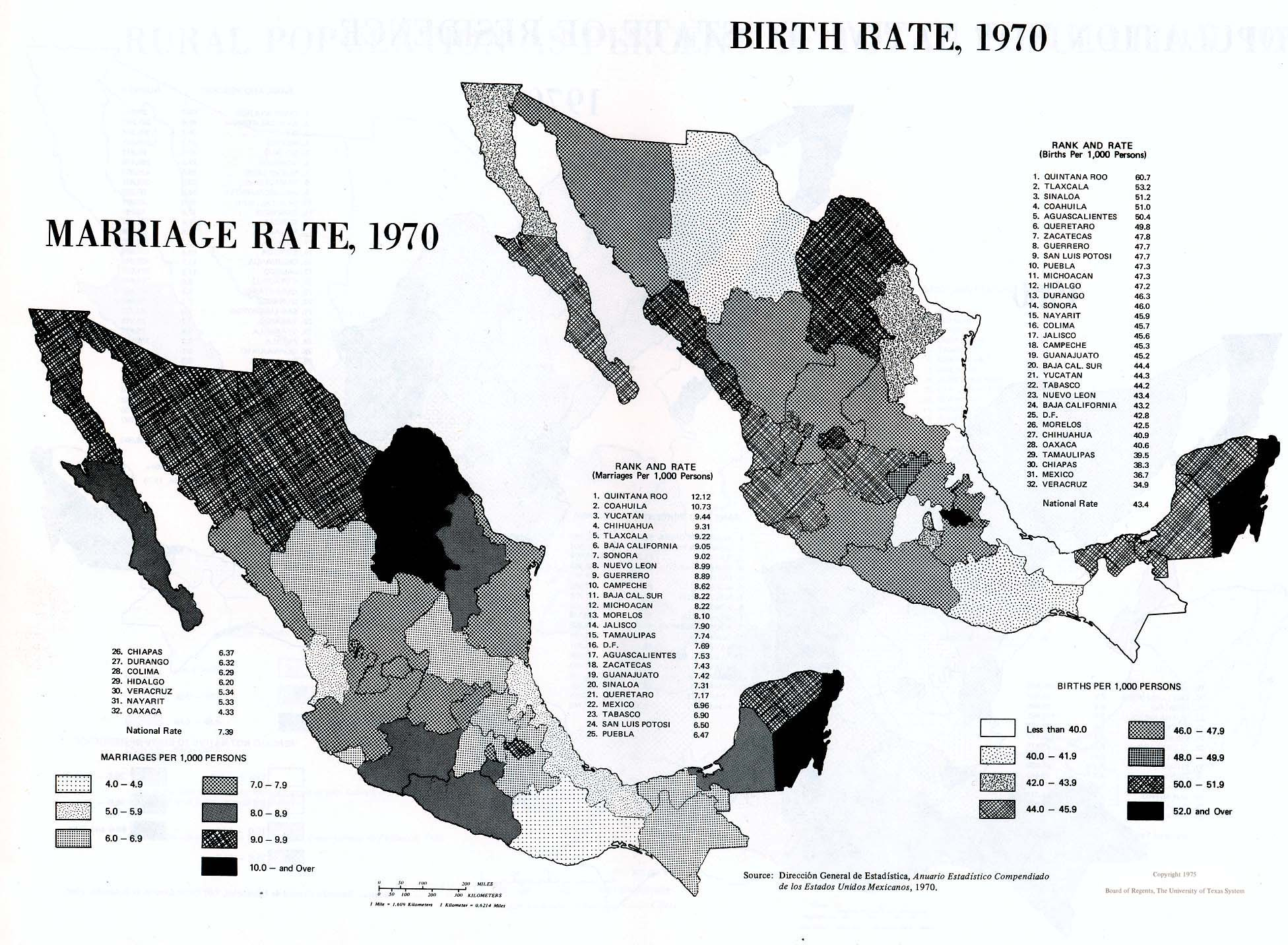 Marriage Rate and Birth Rate Map, Mexico
