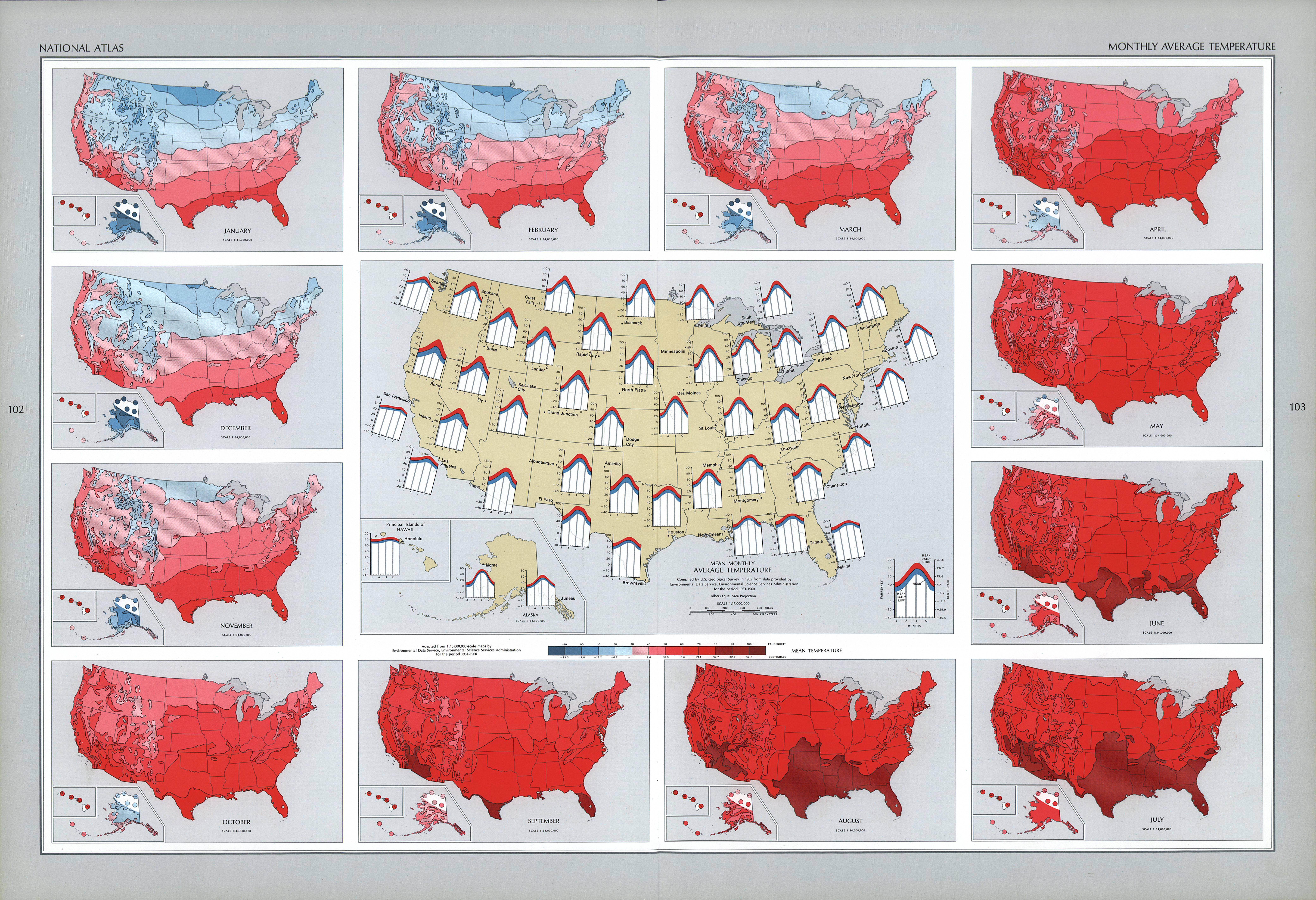Mapa de la Temperatura Promedio Mensual en Estados Unidos