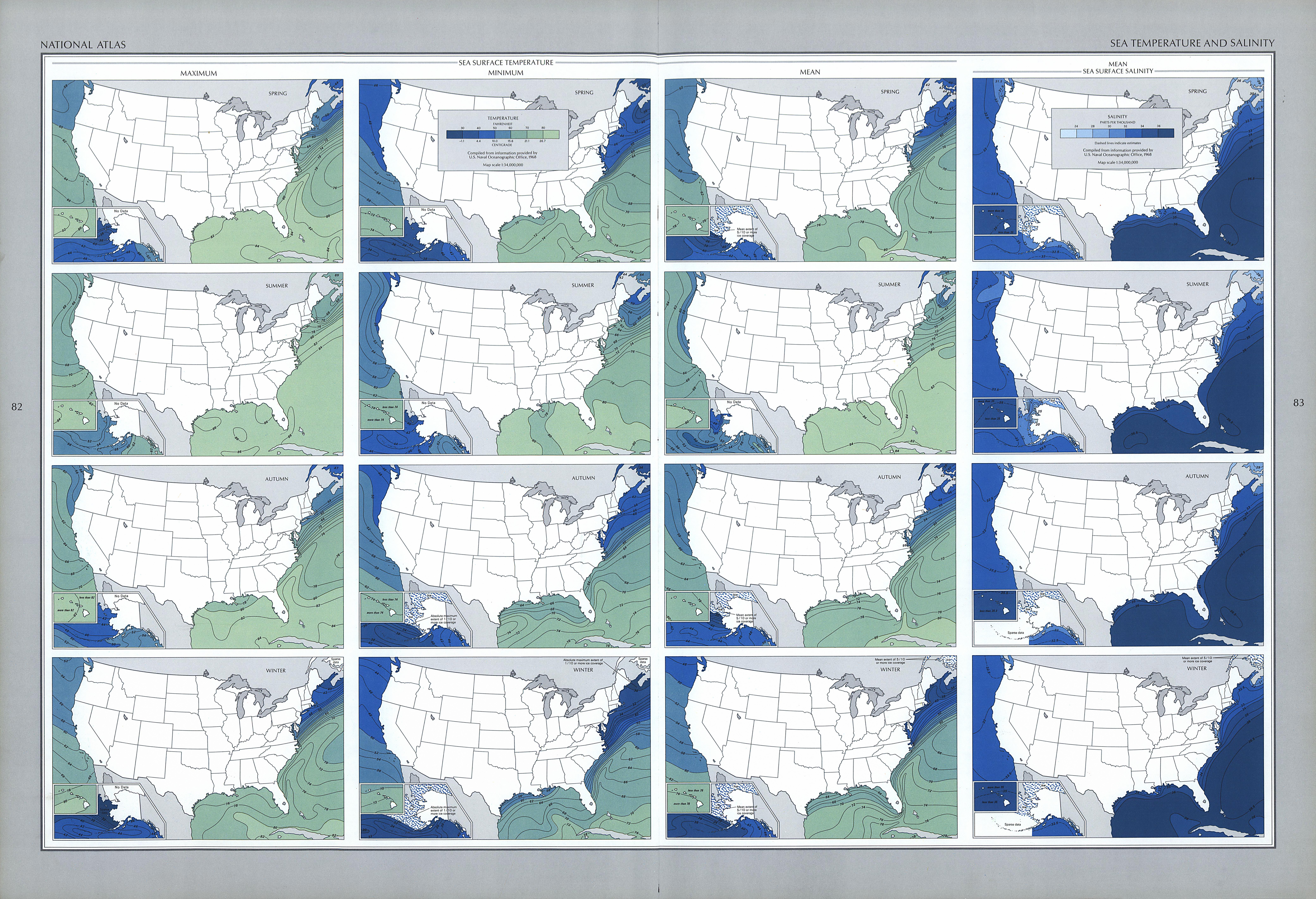 Mapa de la Temperatura y de la Salinidad del Mar, Estados Unidos