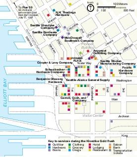 Mapa de la Unidad Seattle, Parque Nacional Histórico Klondike Gold Rush Seattle Unit, Washington, Estados Unidos