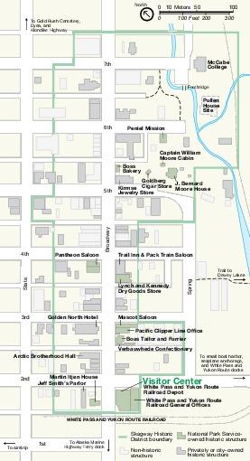 Mapa de la Unidad Skagway, Parque Nacional Histórico Klondike Gold Rush Seattle Unit, Washington, Estados Unidos