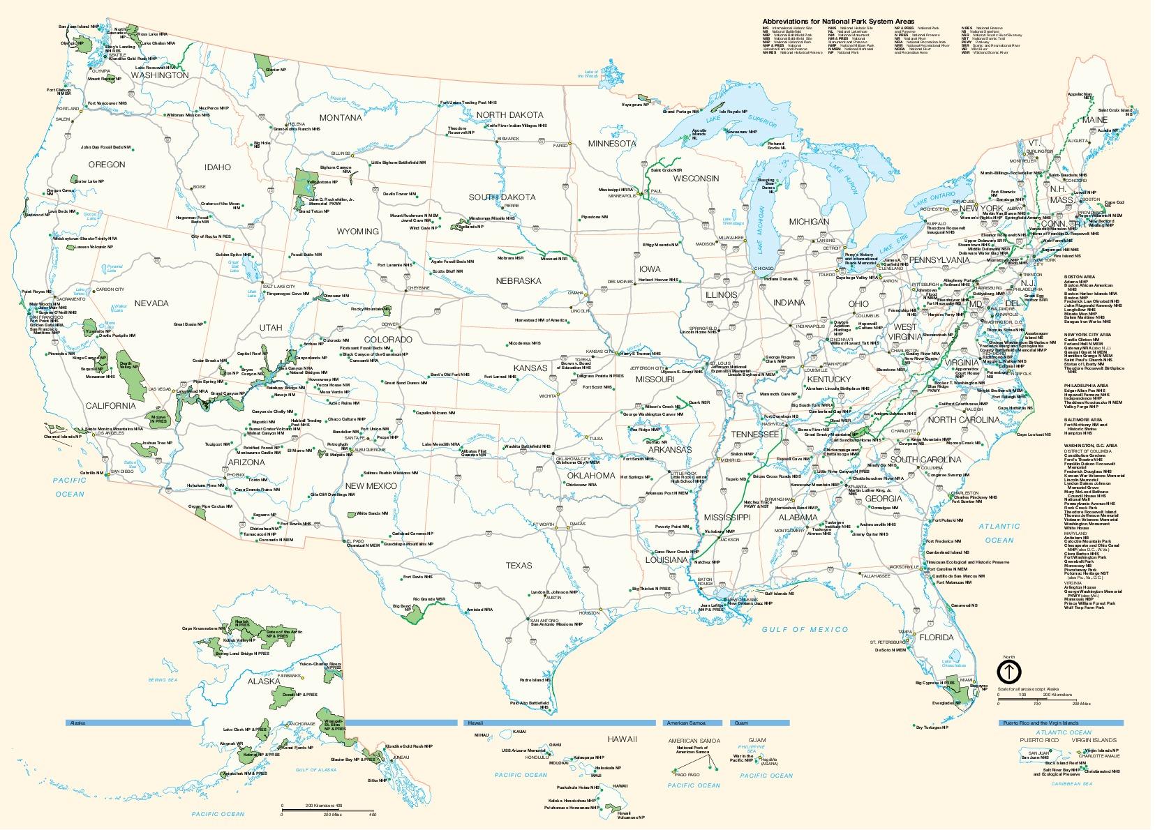 Mapa de las 378 Unidades del Sistema Nacional de Parque, Estados Unidos