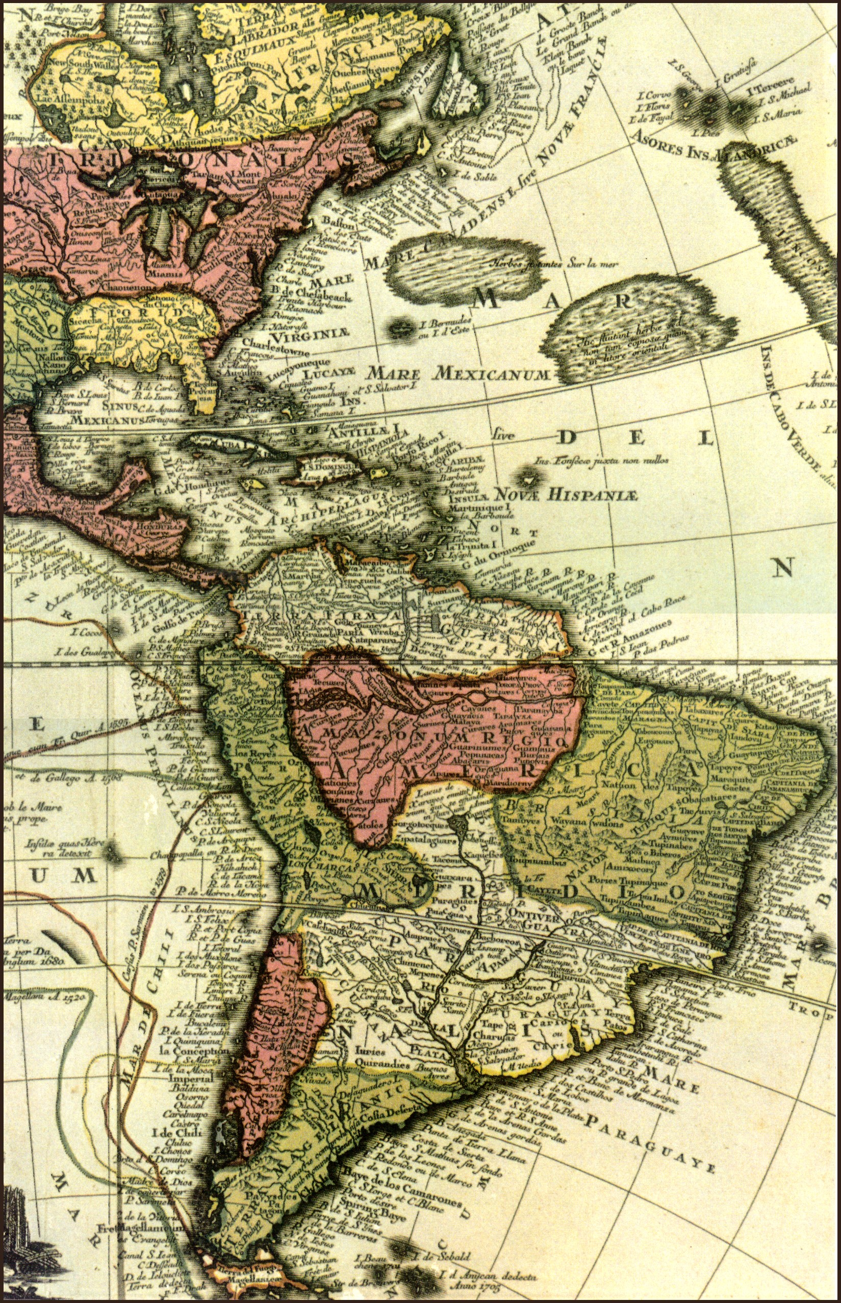 Mapa de las Américas c. 1705