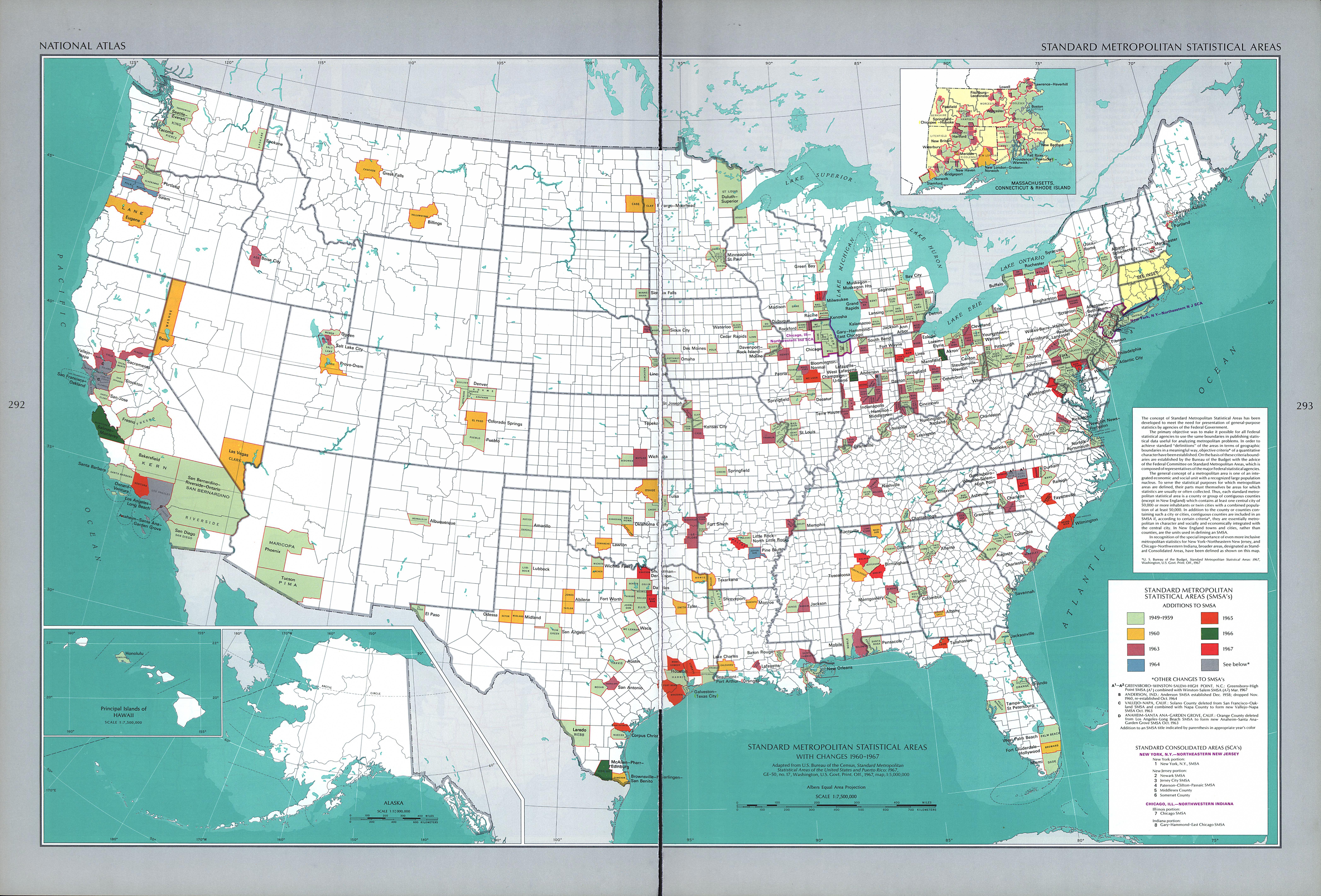 Mapa de las Areas Estadísticas Metropolitanaas Estándar, Estados Unidos