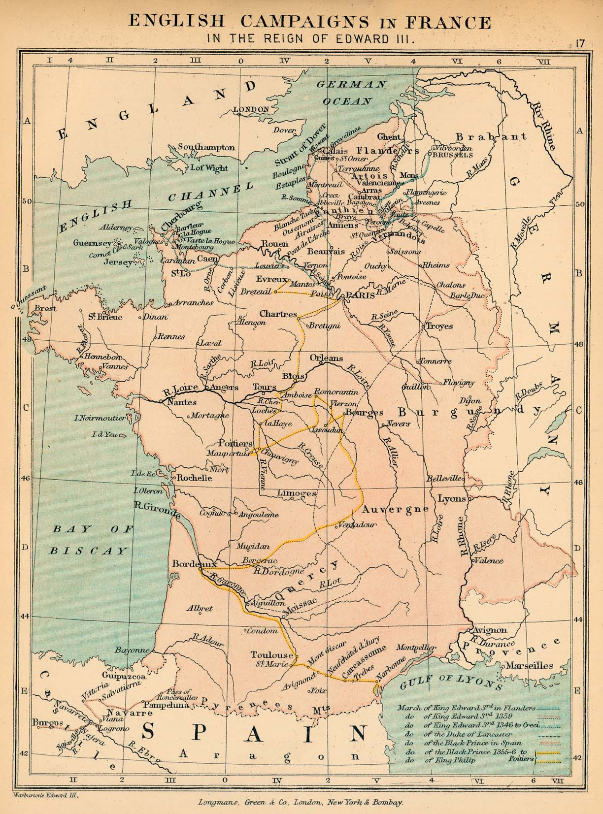 Map of English Campaigns in France in the Reign of Edward III