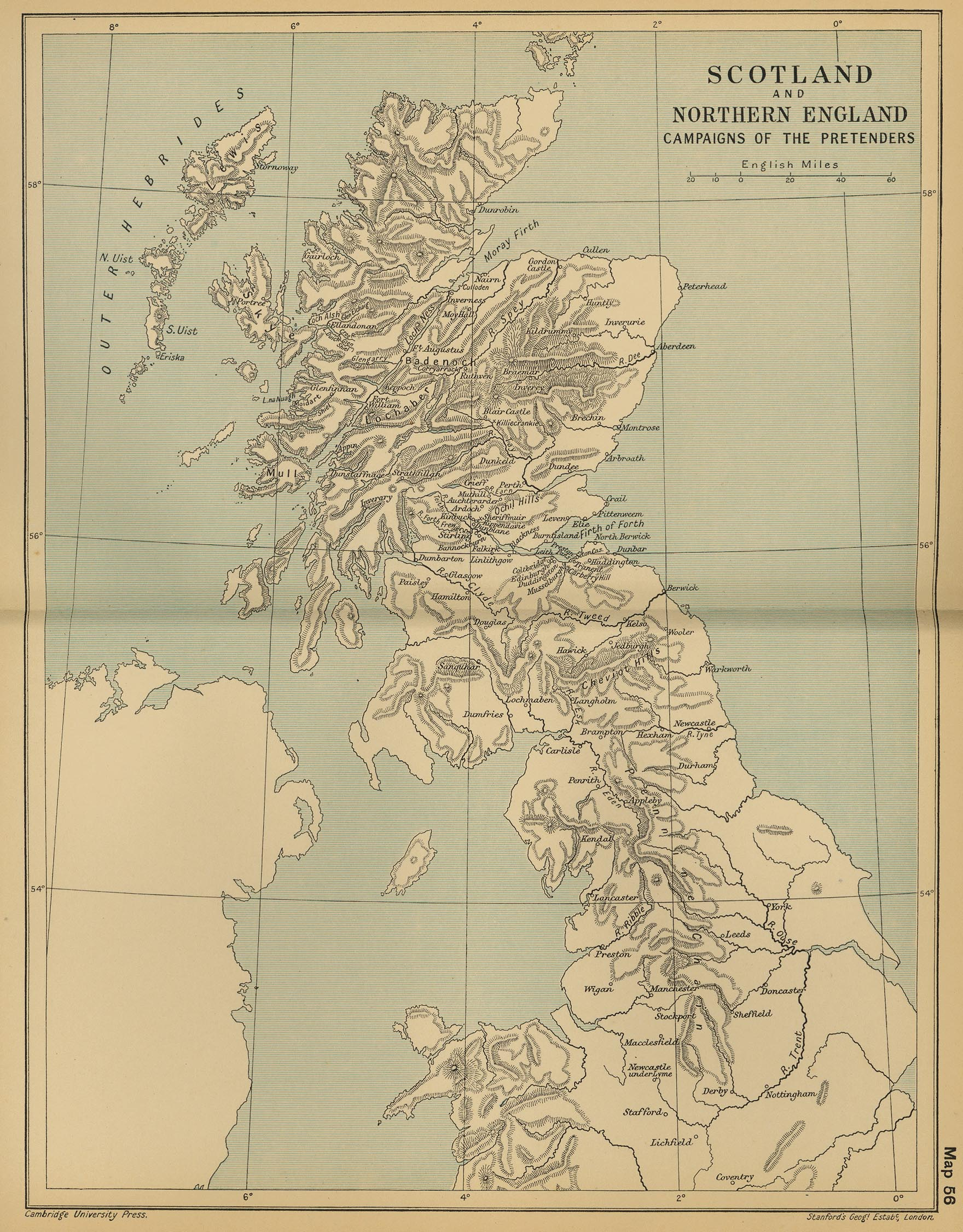 Campaigns of the Pretenders Map, Scotland and Northern England