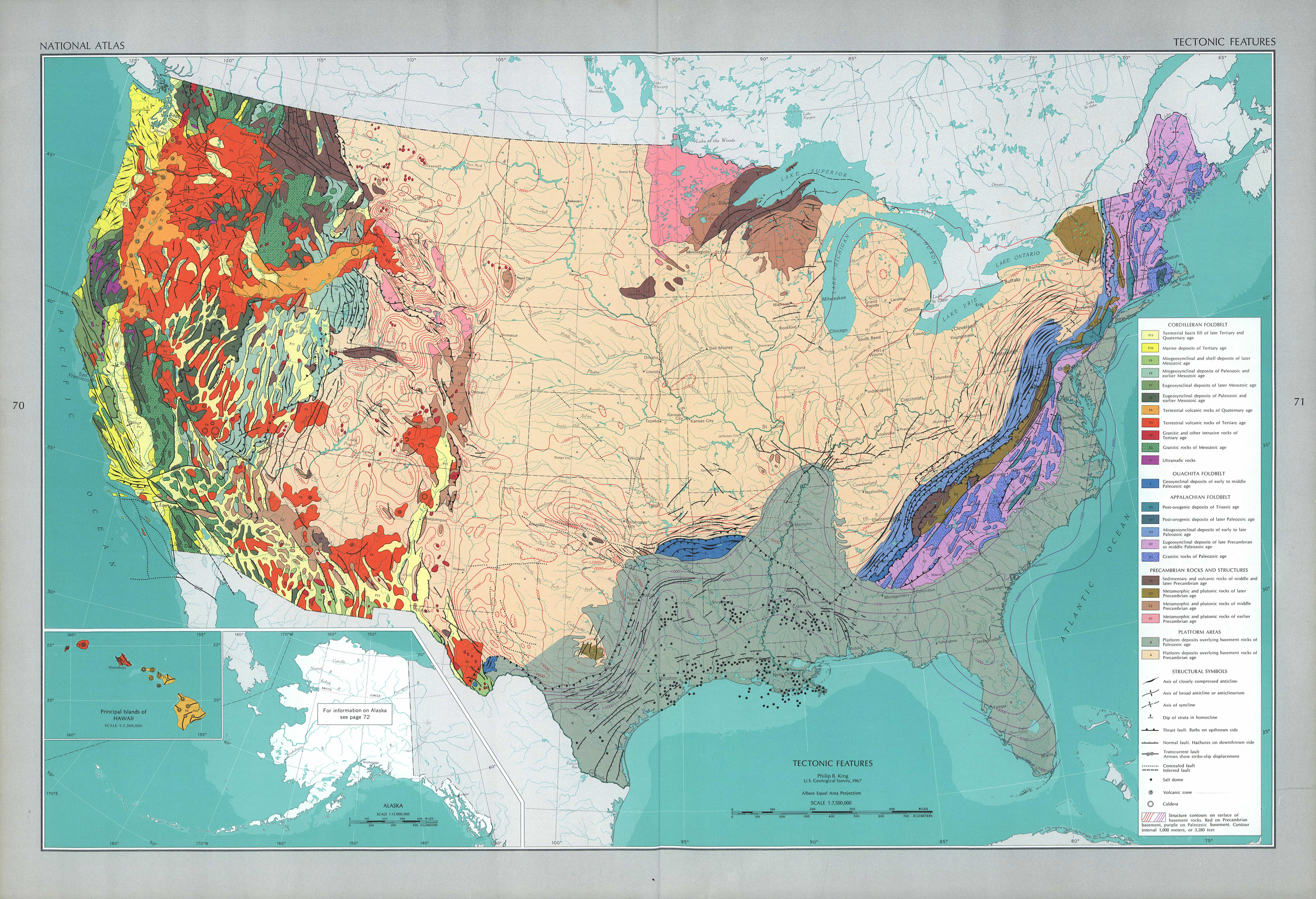 United States Tectonic Features Map