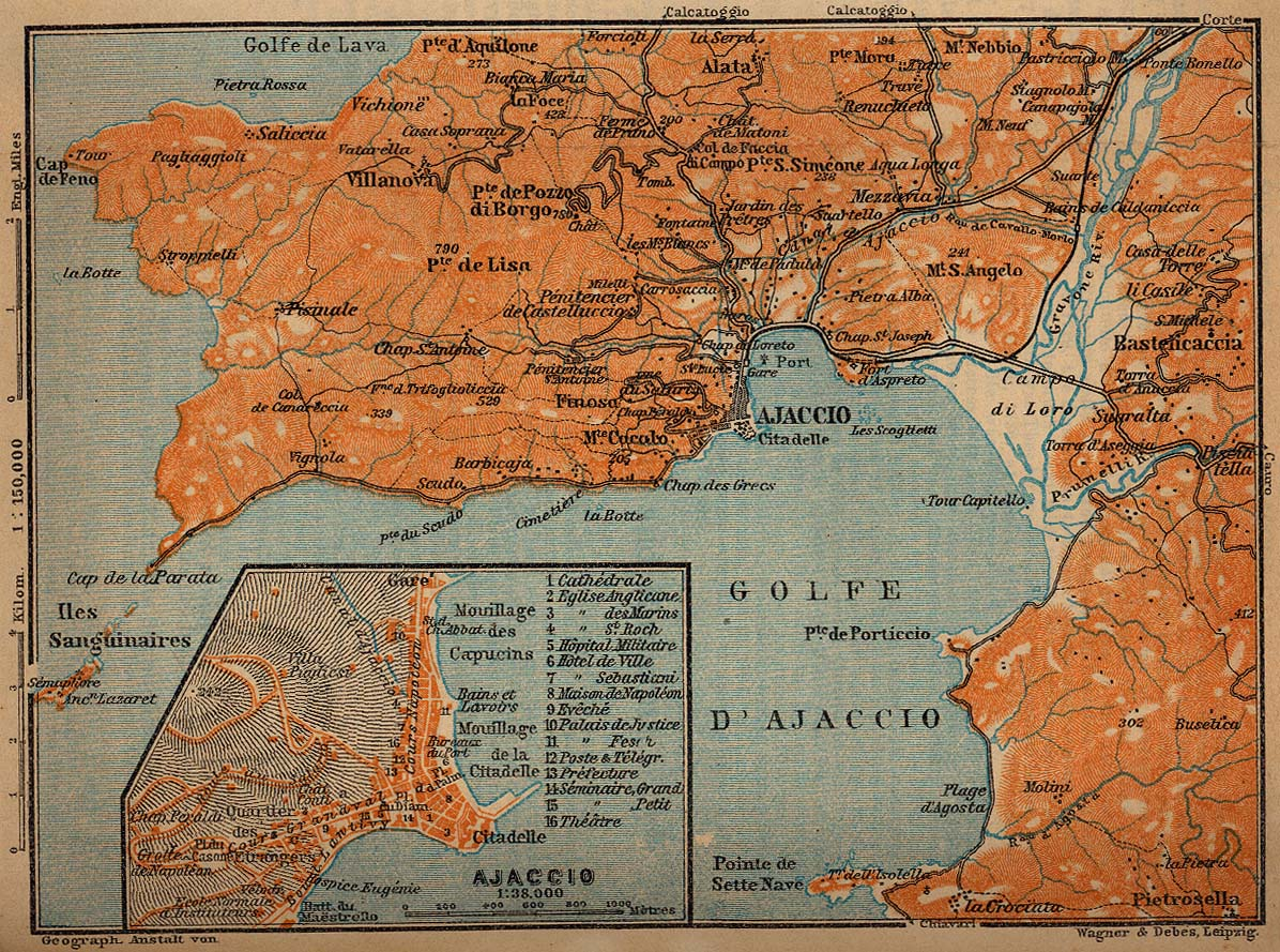 Environs of Ajaccio Map, France 1914