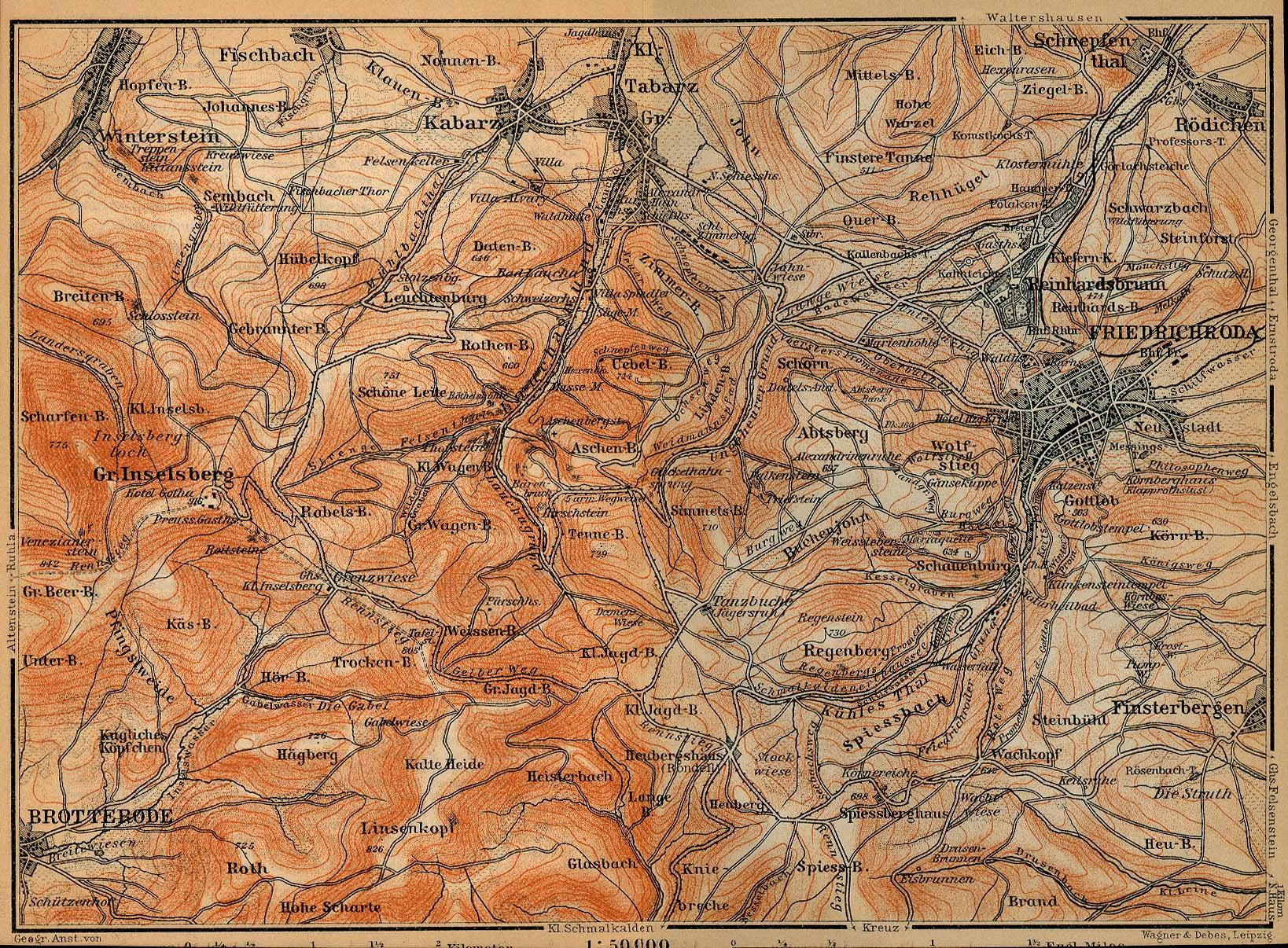 Mapa de las Cercanías de Friedrichroda, Alemania 1910
