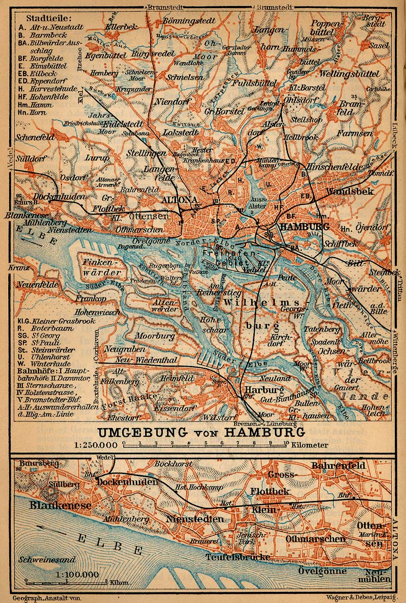 Environs of Hamburg Map, Germany 1910