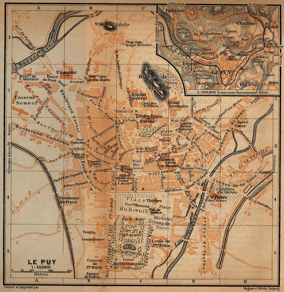 Mapa de las Cercanías de Le Puy, Francia 1914