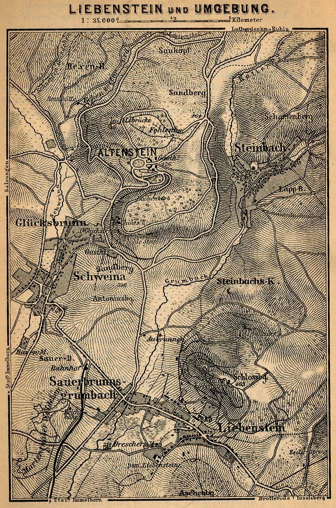 Mapa de las Cercanías de Liebenstein, Alemania 1910