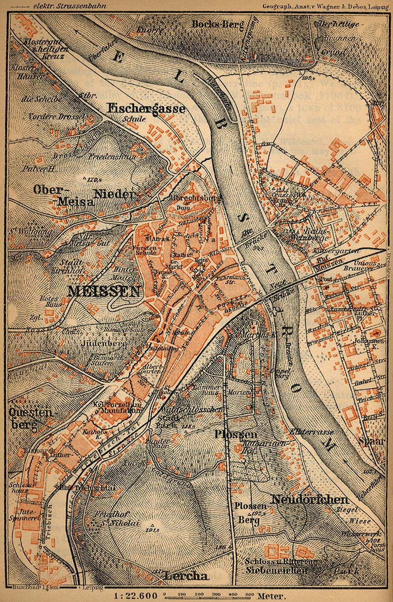 Environs of Meissen Map, Germany 1910