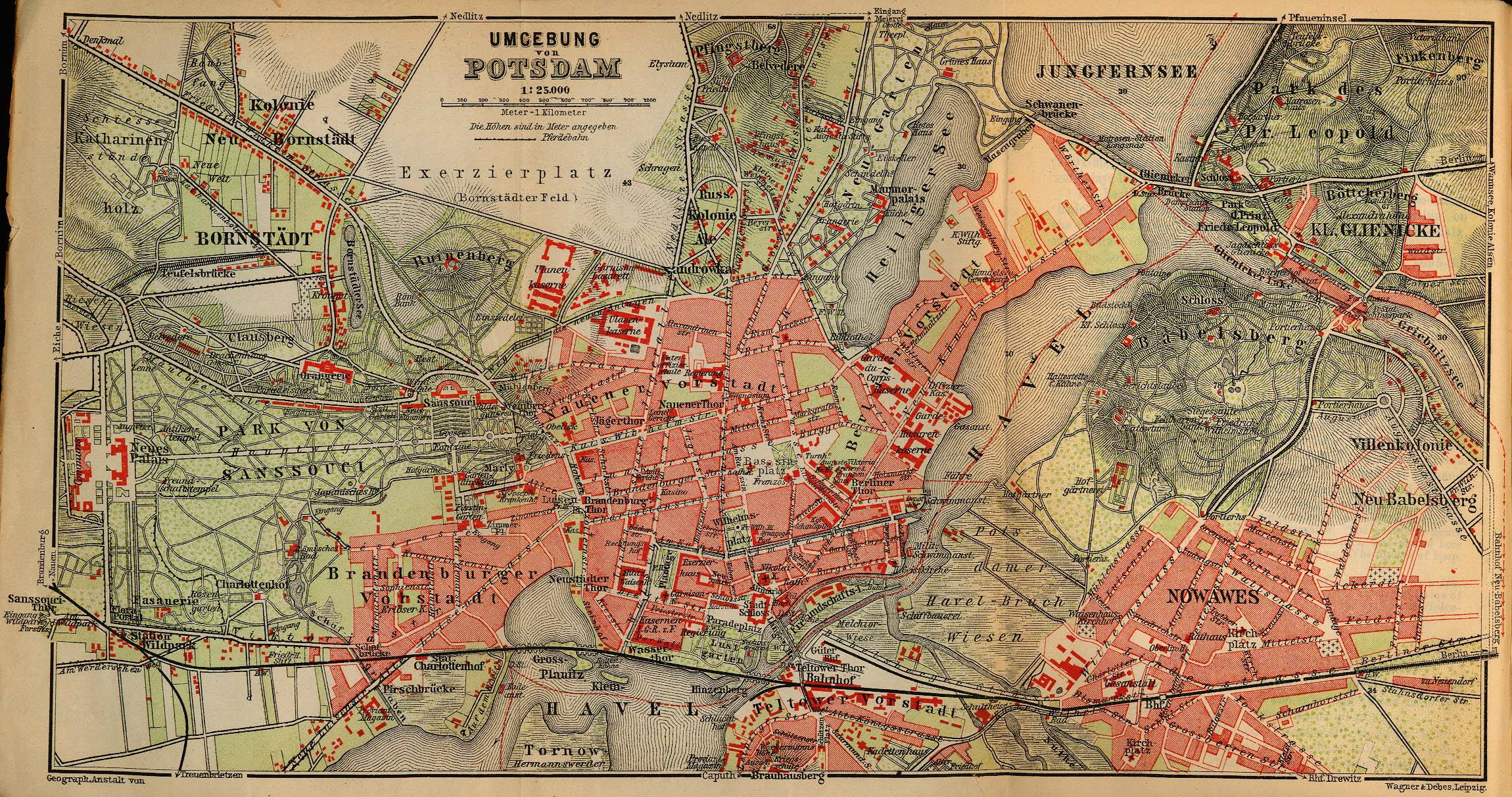 Environs of Potsdam Map, Germany 1910