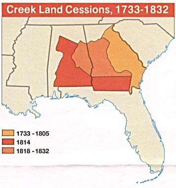 Creek Land Cessions Map, Southeastern United States 1733 - 1832