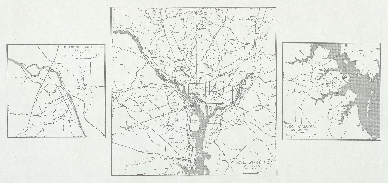 Mapa de las Ciudades de Fredericksburg (Virginia), Annapolis (Maryland) y  Washington D.Circa, Estados Unidos 1946