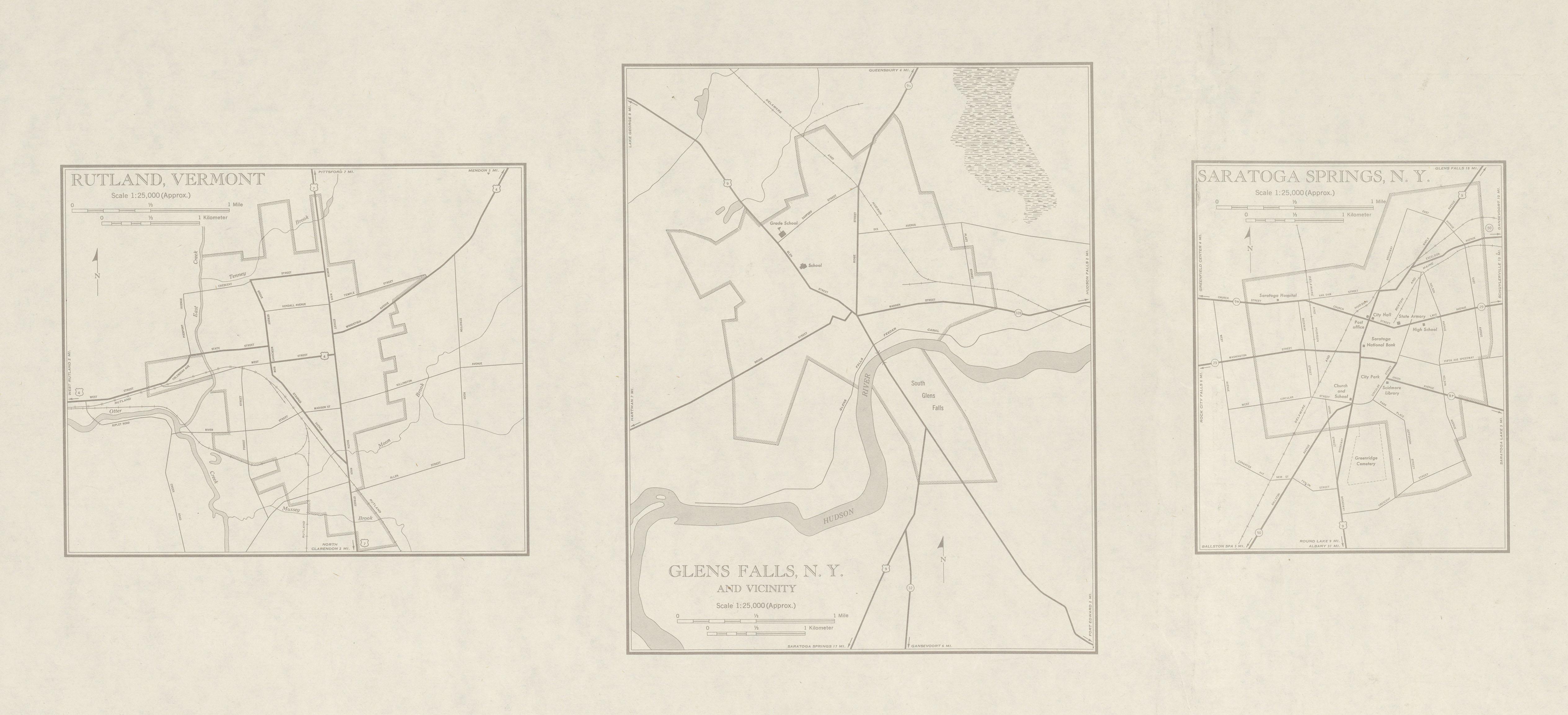 Mapa de las Ciudades de Glens Falls, Saratoga Springs, Nueva York y Rutly, Vermont, Estados Unidos 1948