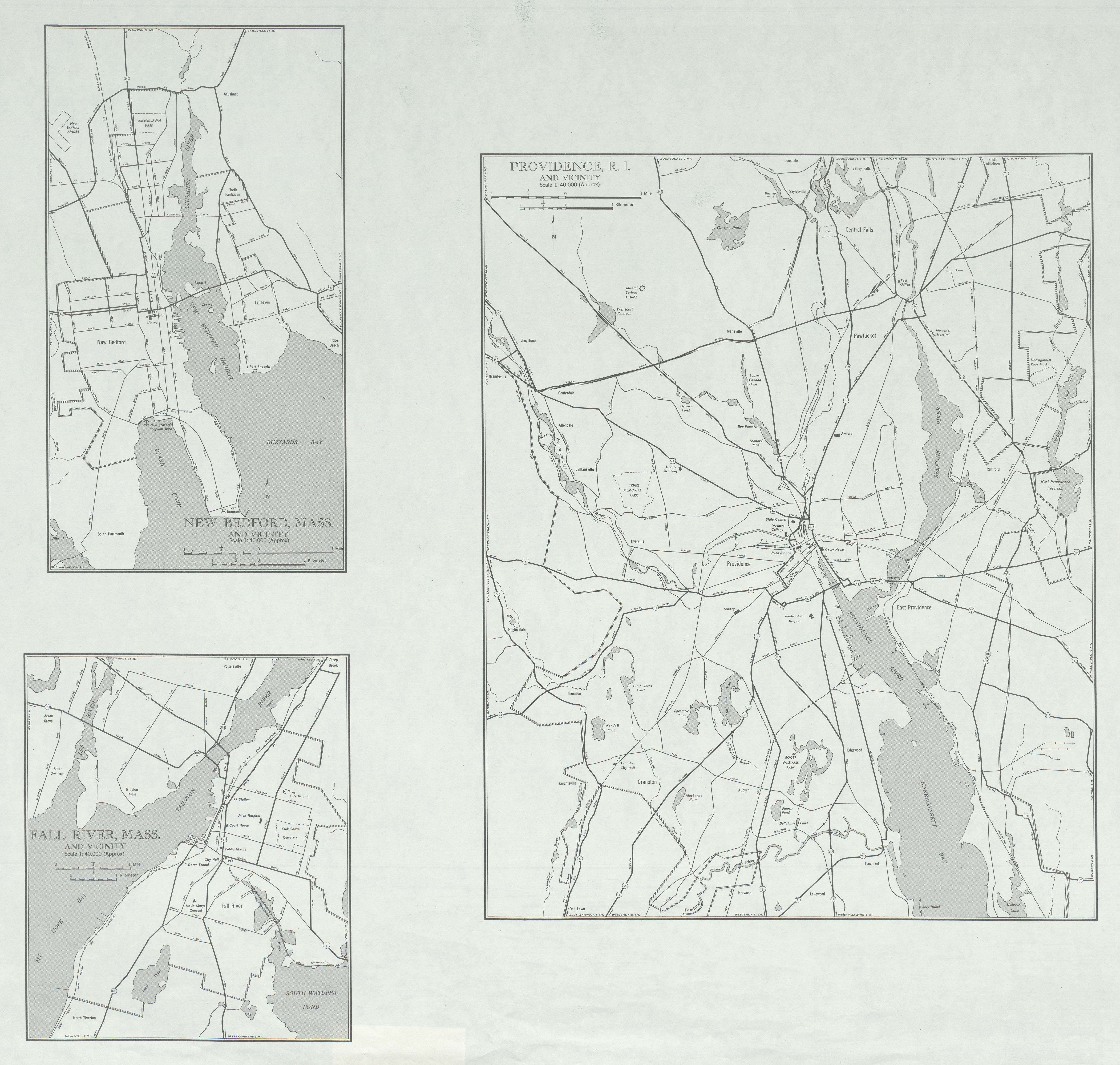 City Maps of New Bedford, Fall River, Massachusetts and Providence, Rhode Island, United States 1947