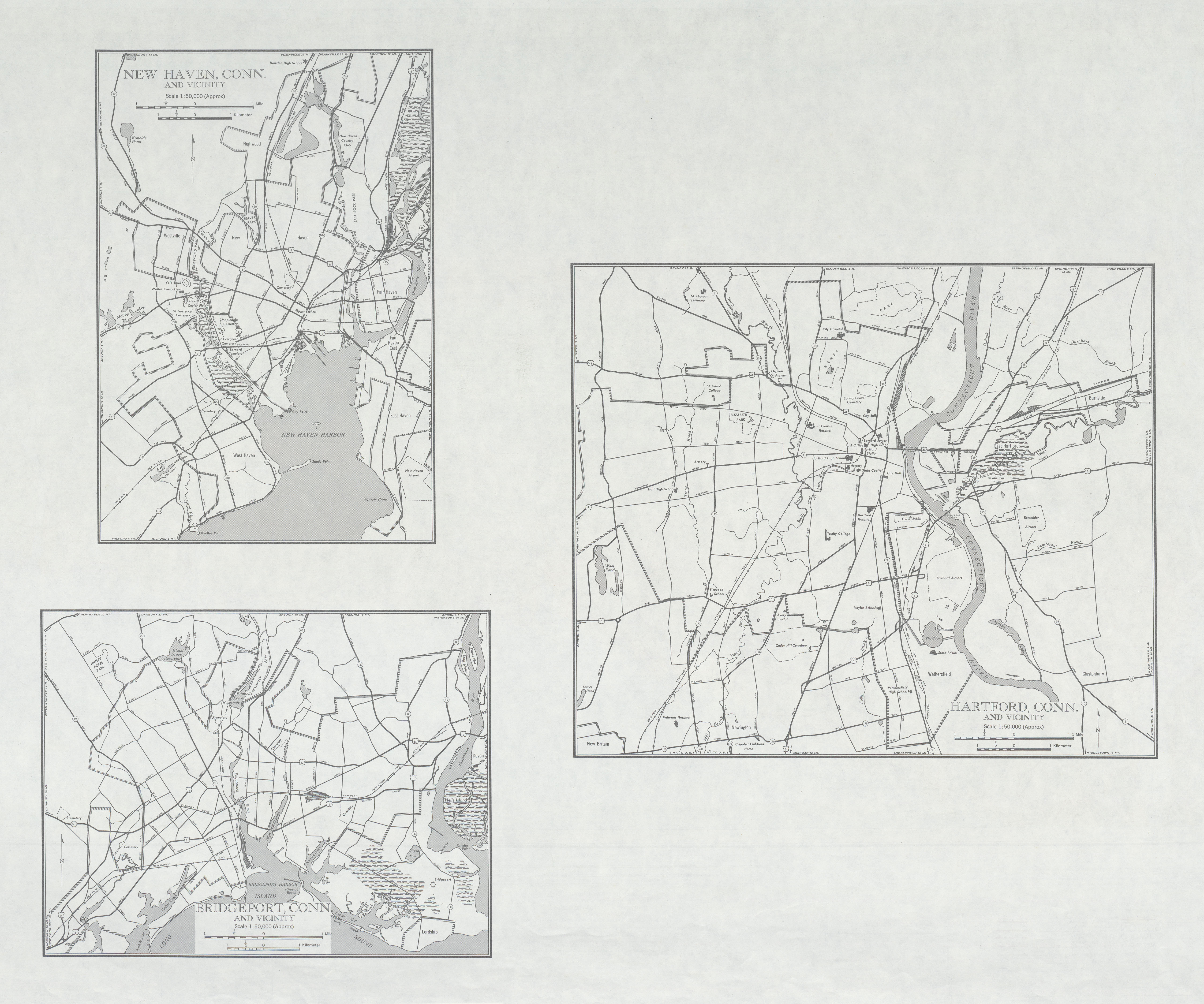 City Maps of New Haven, Bridgeport, Hartford, and Vicinity, Connecticut, United States 1946