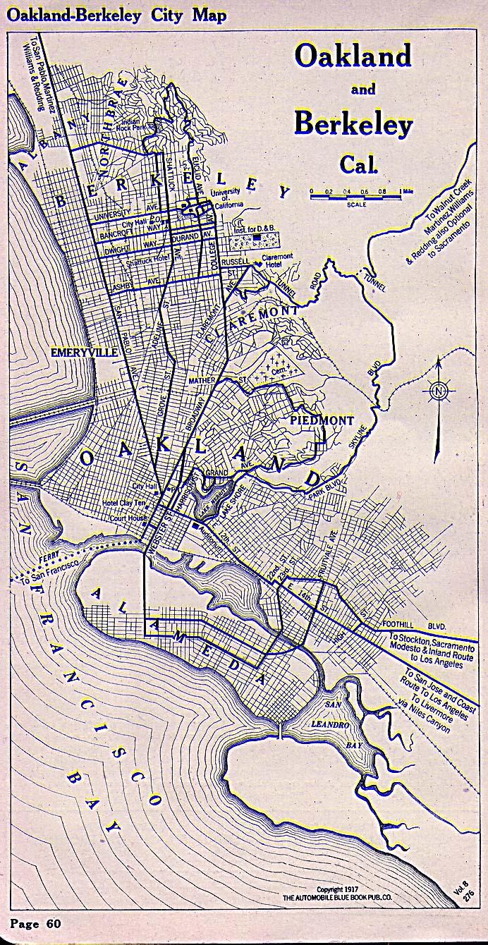 Mapa de las Ciudades de Oakland y Berkeley, California, Estados Unidos 1917