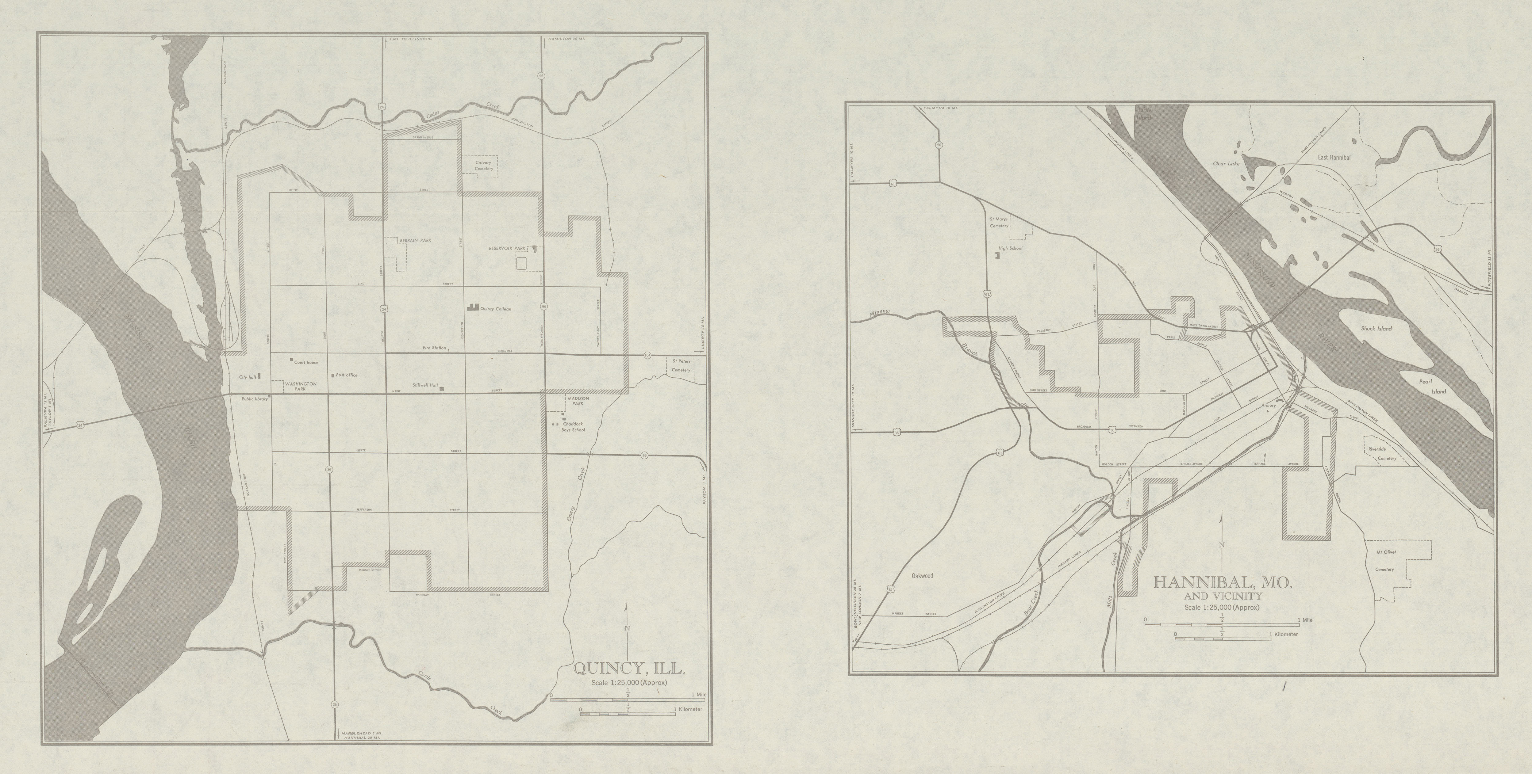 City Maps of Quincy, Illinois and Hannibal, Missouri, United States 1947