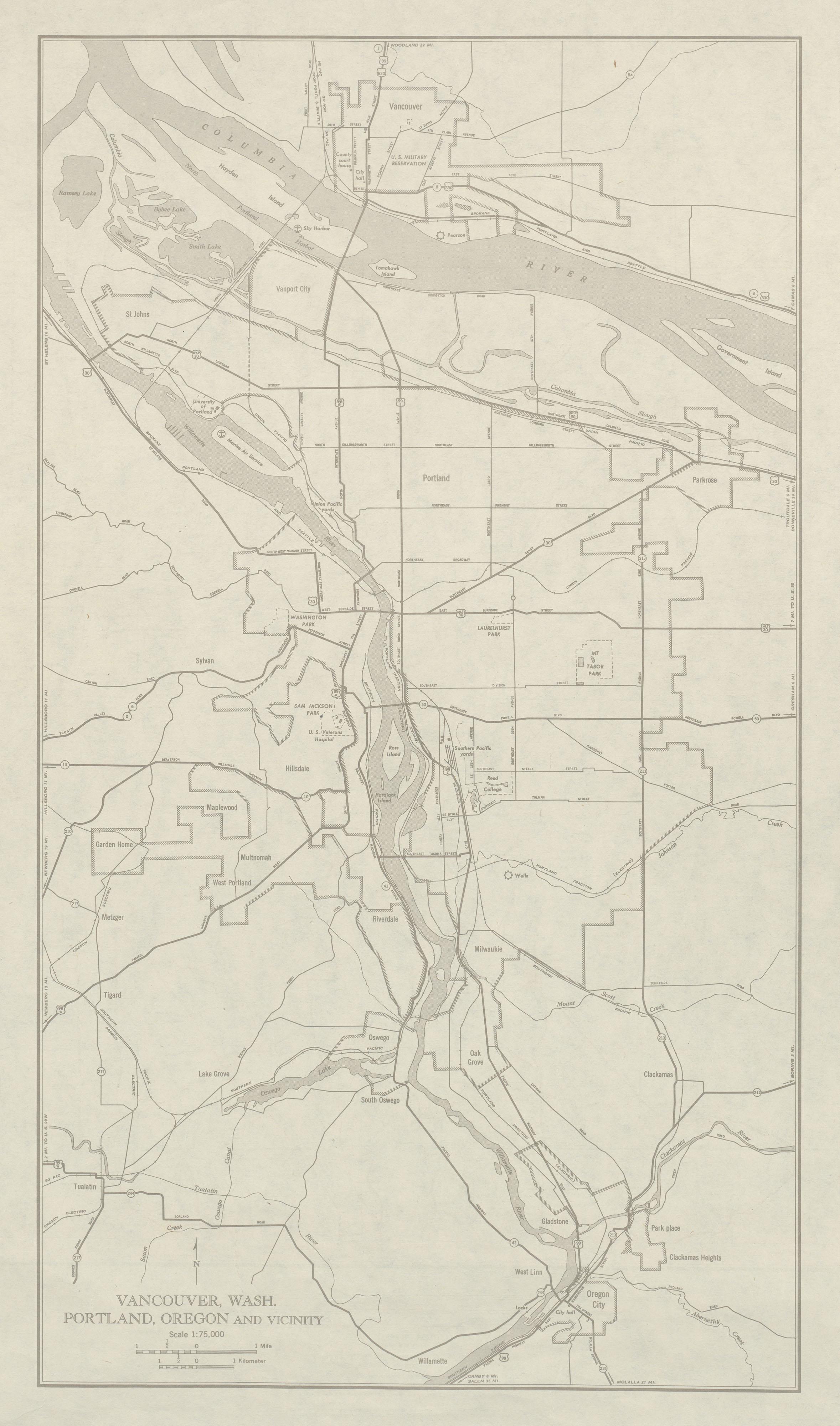 City Maps of Vancouver, Washington and Portland Oregon, United States 1949