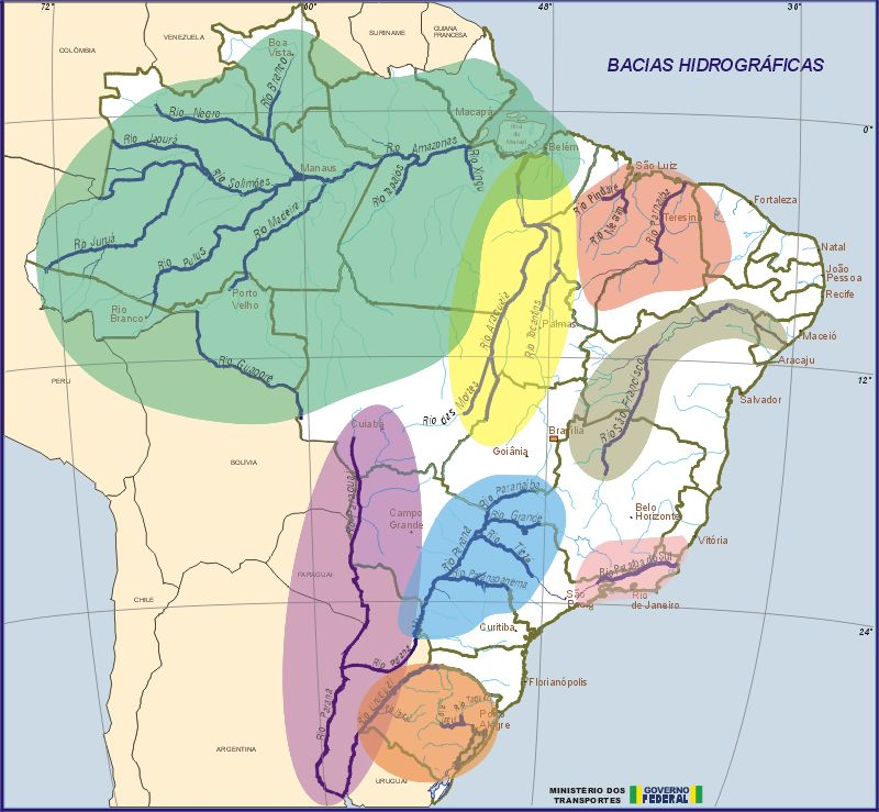 Brazil Water Basins Map