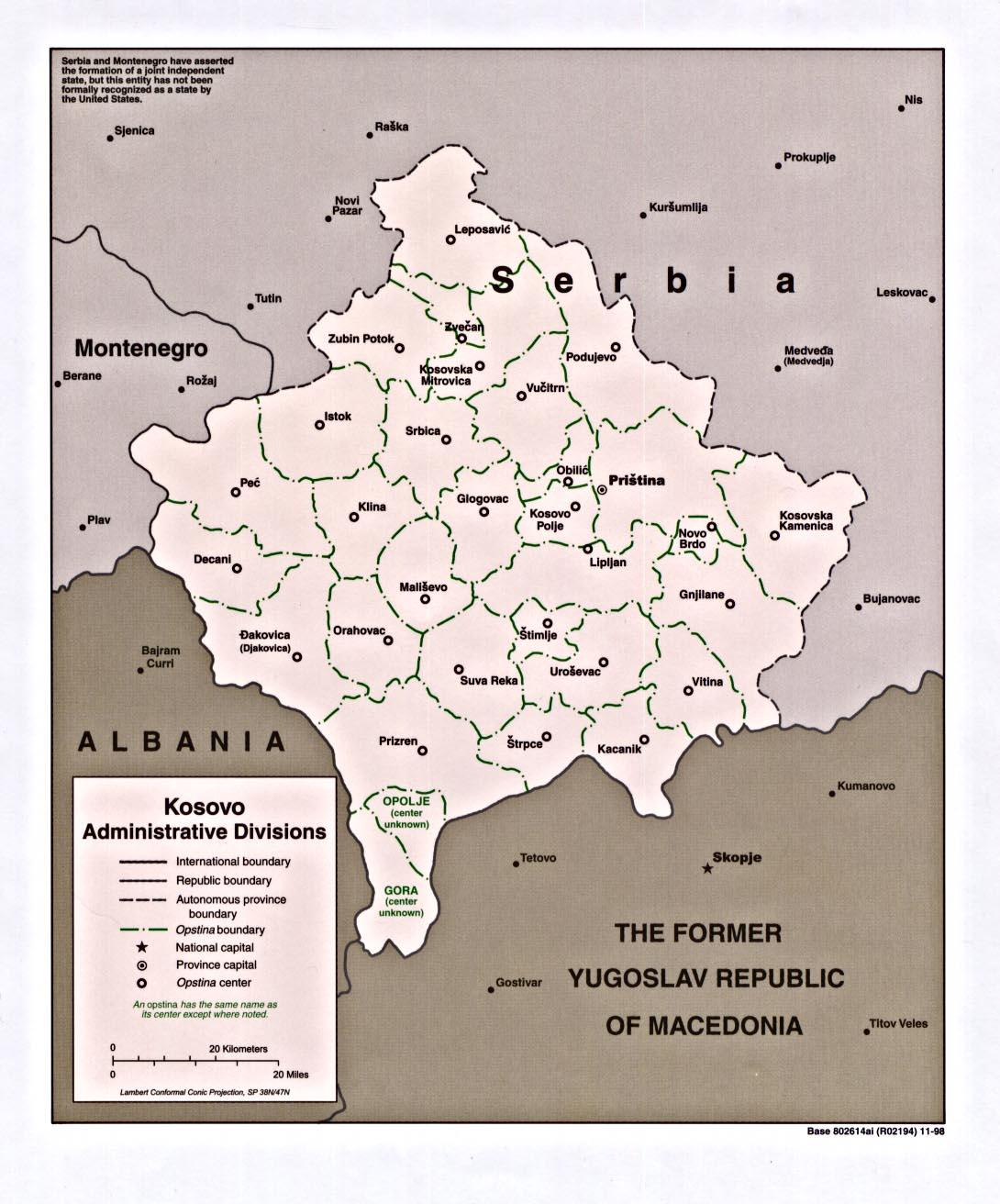 Mapa de las Divisiones Administrativas de Kosovo