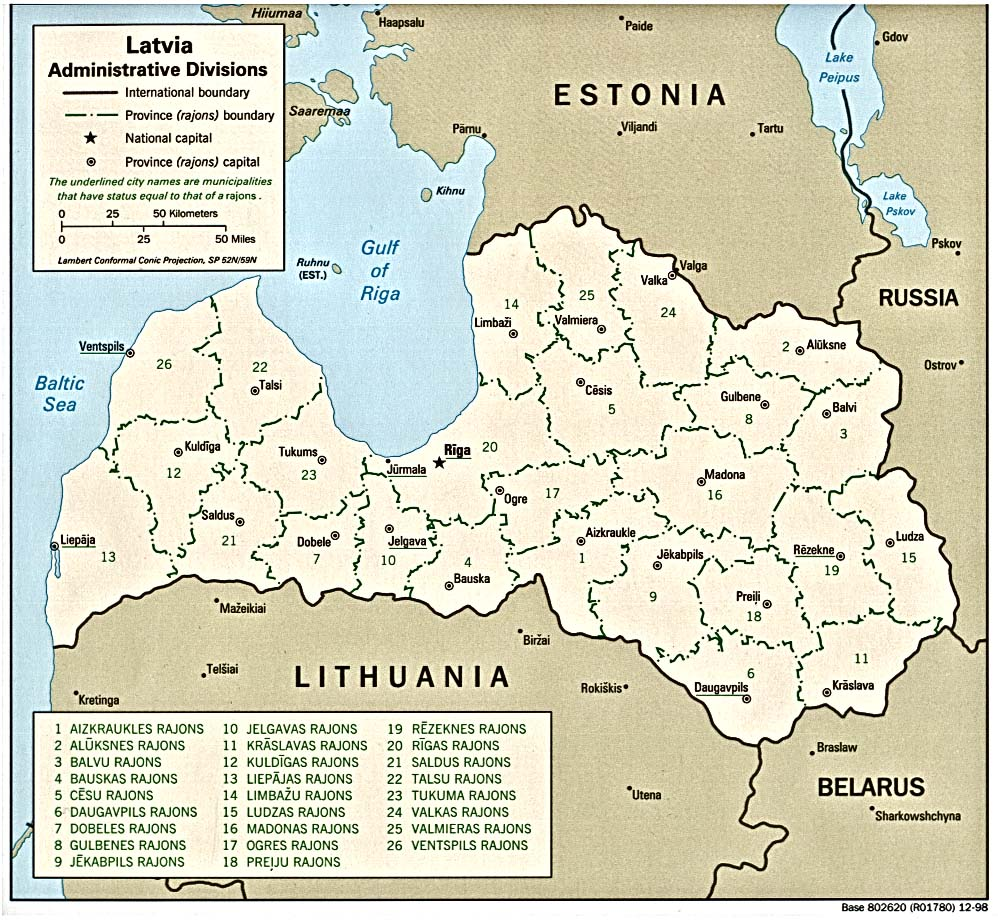 Latvia Administrative Divisions Map