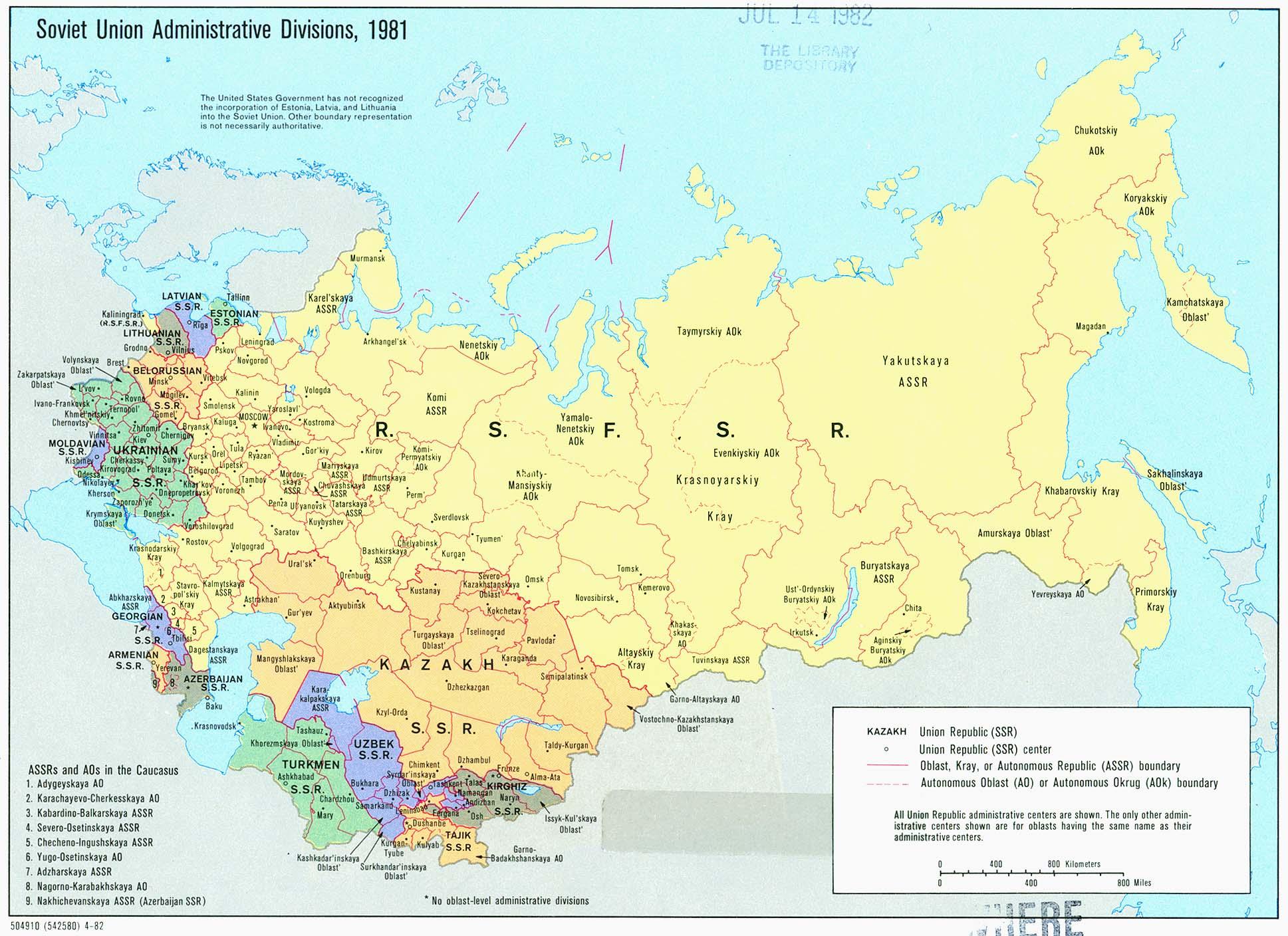 Mapa de las Divisiones Administrativas de la ex Unión Soviética