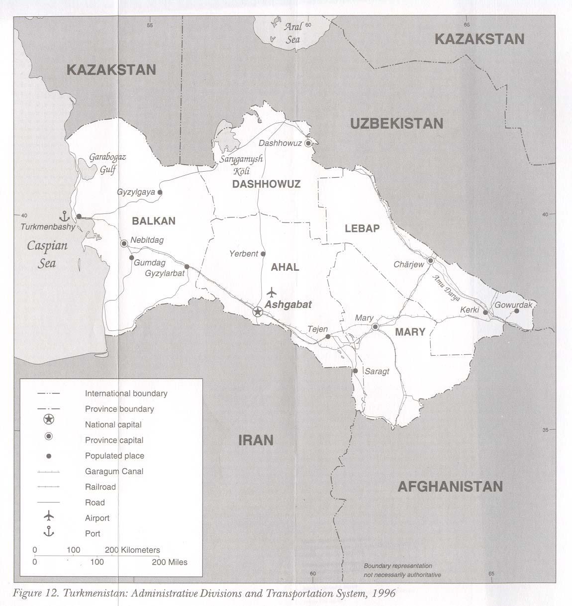 Mapa de las Divisiones Administrativas y Sistema de Transporte de Turkmenistán