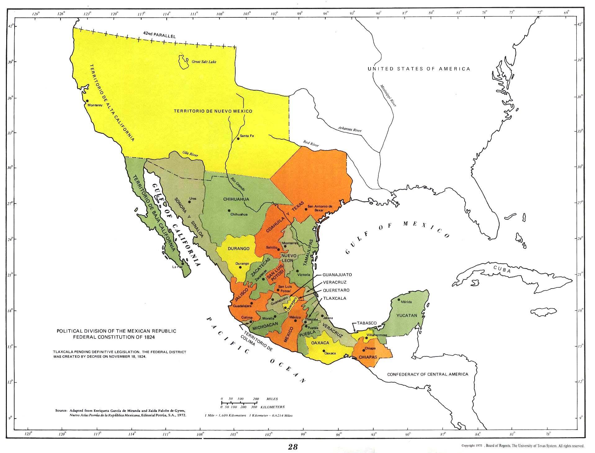 Mapa de las Divisiones Política de la República Mexicana Segun Constitución Federal de 1824, México