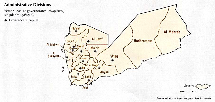 Mapa de las Divisiones de Yemen 1993