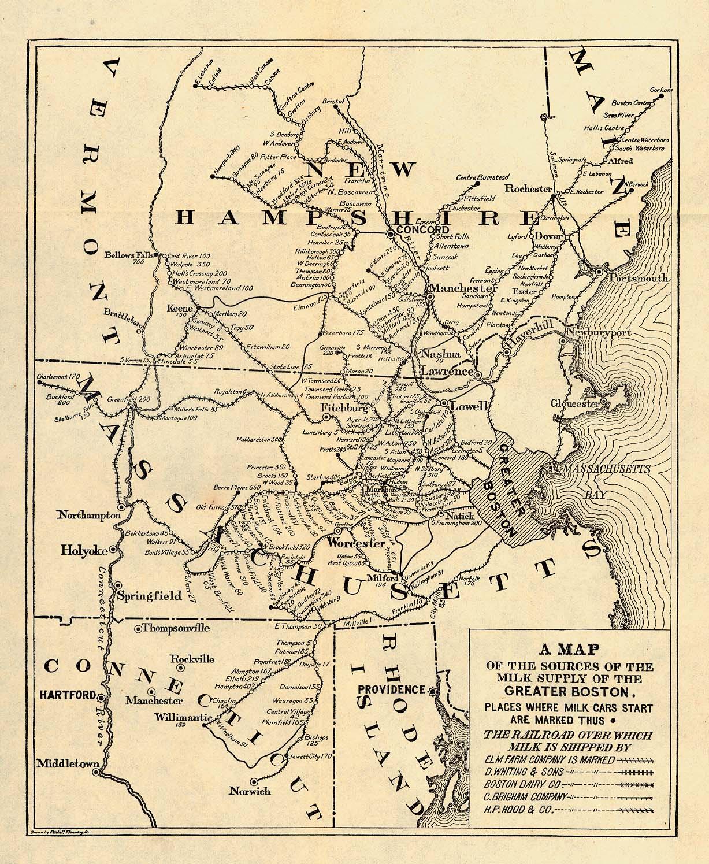 Mapa de las Fuentes del Abastecimiento de Leche del Gran Boston, Massachusetts, Estados Unidos 1901